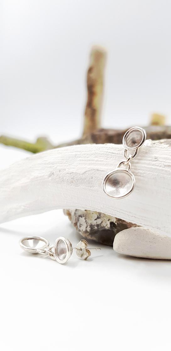 COSSES DOUBLES boucles d oreilles GM ST19050 argent925 poli satine LemairePatricia 28x1cmret