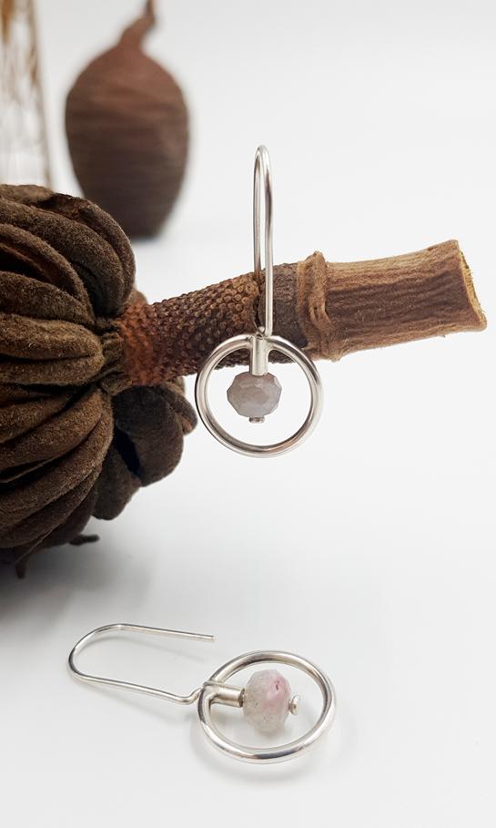 LAGOON CERCLE boucles d oreilles ST20024 argent925 labradorite rose PatriciaLemaire 3x1 5cmRET