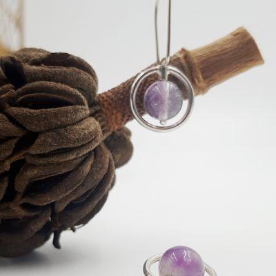LAGOON CERCLE boucles d oreilles ST20025 argent925 fluorite violette PatriciaLemaire 3x1 5cmRET