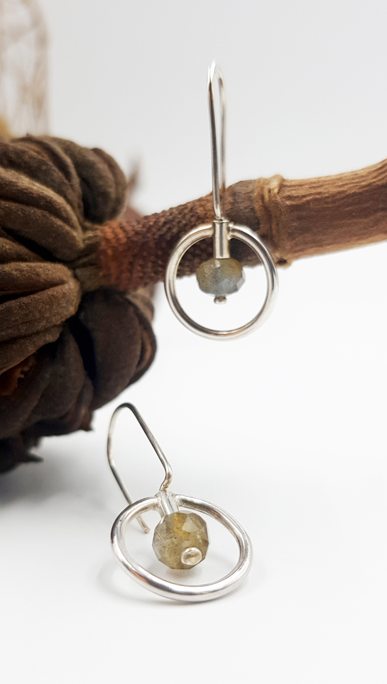 LAGOON CERCLE boucles d oreilles ST20026 argent925 labradorite fumee PatriciaLemaire 3x1 5cm