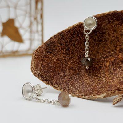 LAGOON PETITES CHAINETTES boucles d oreilles ST20006 argent925 labradorite PatriciaLemaire 3cm