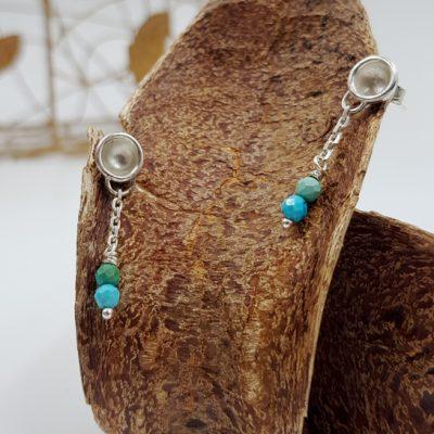 LAGOON PETITES CHAINETTES boucles d oreilles ST20007 argent925 2turquoises PatriciaLemaire 3cm