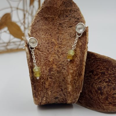 LAGOON PETITES CHAINETTES boucles d oreilles ST20008 argent925 2grenats verts PatriciaLemaire 3cm