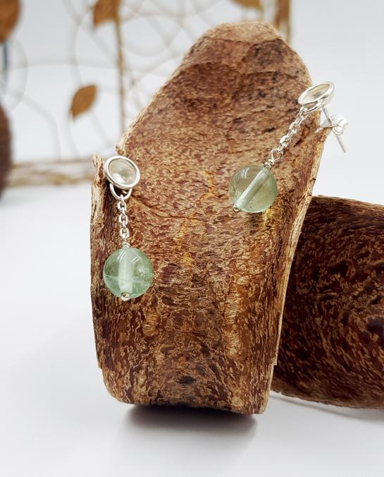 LAGOON PETITES CHAINETTES boucles d oreilles ST20011 argent925 fluorites vertes PatriciaLemaire 3cm