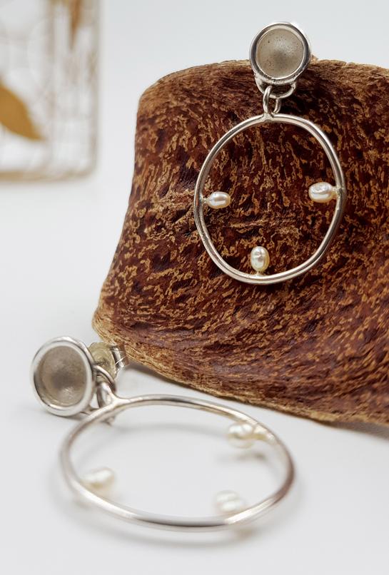 LAGOON SILHOUETTE boucles d oreilles ST20022 argent925 3perles grains de riz PatriciaLemaire 3 5x2cm