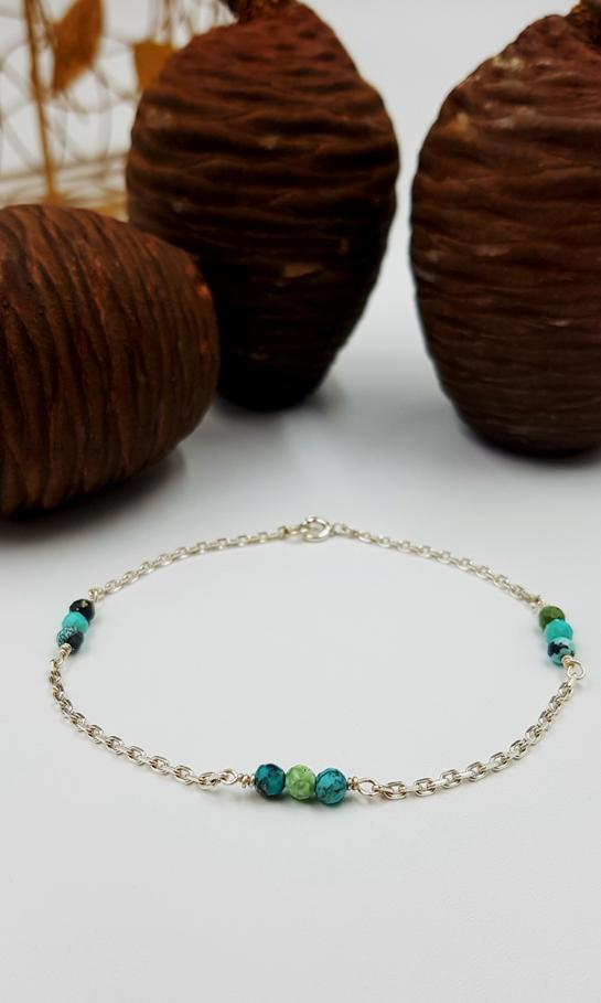 LAGOON bracelet chainette ST20030 argent925 1gr2 9turquoises PatriciaLemaire long18cmRET