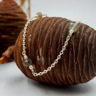 LAGOON bracelet chainette ST20098 argent925 1gr2 6perles 3labradorites PatriciaLemaire long18cm1RET
