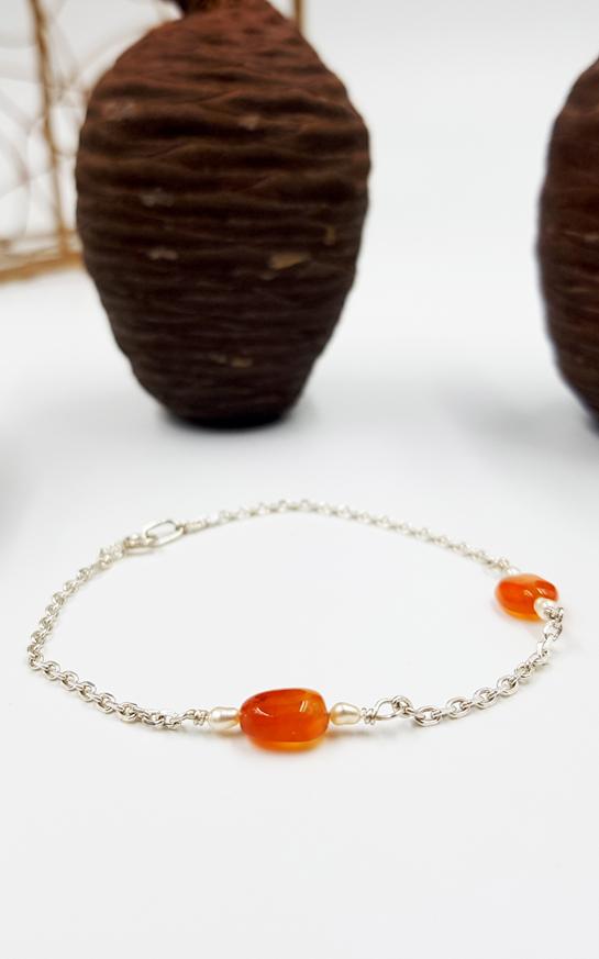 LAGOON bracelet chainette ST20100 argent925 1gr2 4perlesriz 2cornalines PatriciaLemaire long17cm2RET