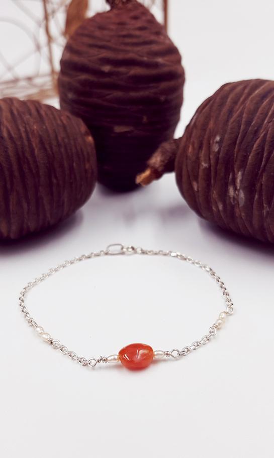 LAGOON bracelet chainette ST20101 argent925 1gr2 6perlesriz 1cornaline PatriciaLemaire long16 5cmRET