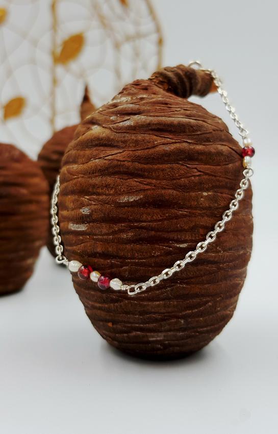 LAGOON bracelet chainette ST20103 argent925 1gr2 7perles 4grenats rouges PatriciaLemaire long17cm7RET