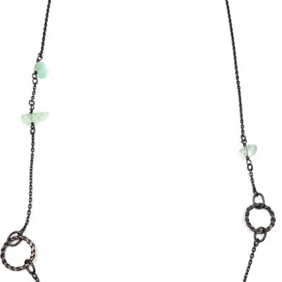 LITTLE ROCK ON THE NECK collier ST19083 argent925 patine 5fluorites PatriciaLemaire long58 5cm