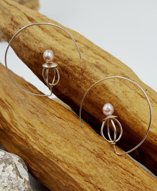 PEARL boucles d oreilles ST16089 argent925 perle rose eau douce PatriciaLemaire diam4cmret