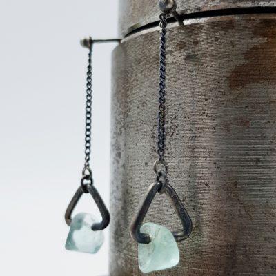 ROCK AND boucles d oreilles ST19086 argent925 patine fluorites PatriciaLemaire 3x1cm