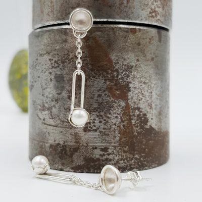 ROCK N PEARL boucles d oreilles ST20066 argent925 perles d eau douce PatriciaLemaire long3 5X0 5cm