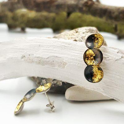 TWINCOSSE boucles d oreilles ST19065 argent925 patine feuille d or 3cossesPatriciaLemaire 2 4x0 9cmret