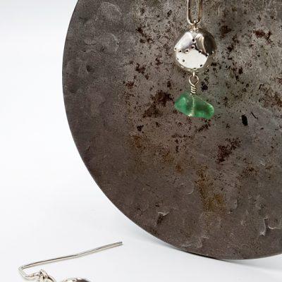 WHITE ROCK boucles d oreilles ST19088 argent925 poli caillou fluorites PatriciaLemaire 5x1cm